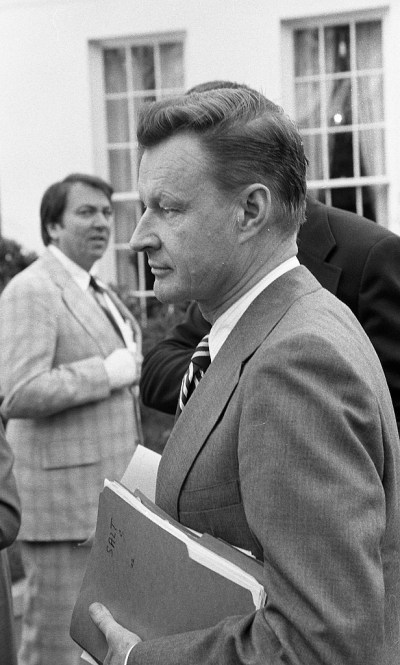 Zbigniew Brzezinski at a meeting with congressional leaders about the SALT talks in 1977. (Library of Congress)