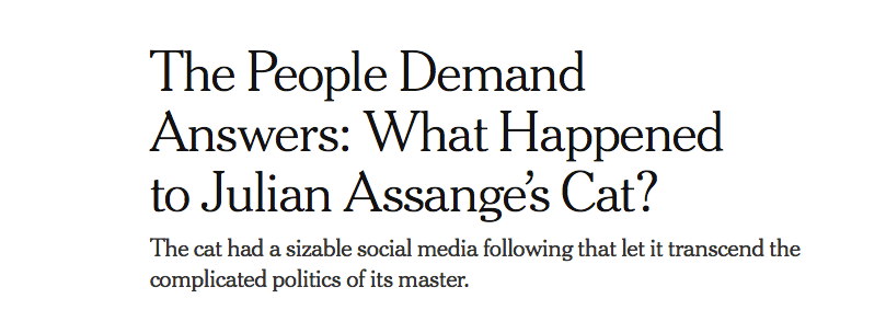 Front-page headline, NYT.com, April 11, 2019.