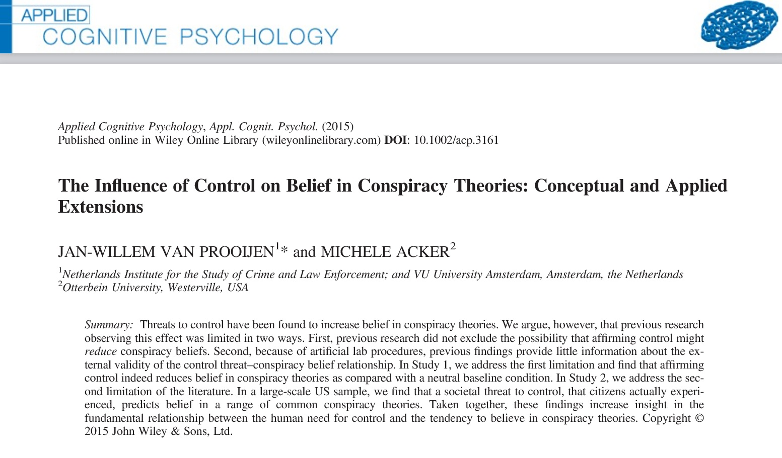Buffering Conspiracy Theories With Feelings Of Control The
