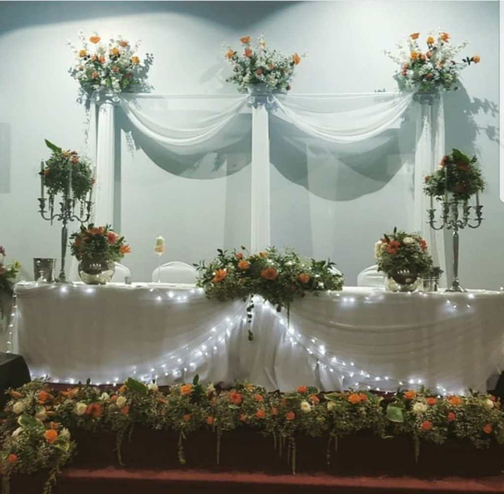 White decoration and flowers