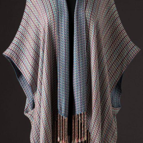 silk blend capelet reversible - indigo