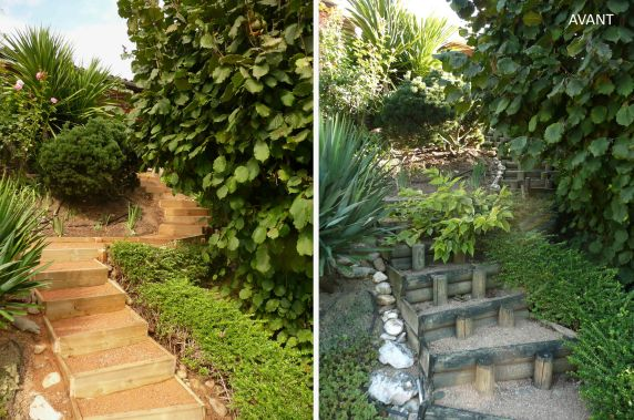 Escalier bois exterieur Avant / Après
