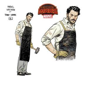 "Tony Stark in Marvel's 1872. Marvel's secret wars is giving way to a lot of really creative worlds n ""Battleworld"" including 1872, an old west version of the Marvel Universe."