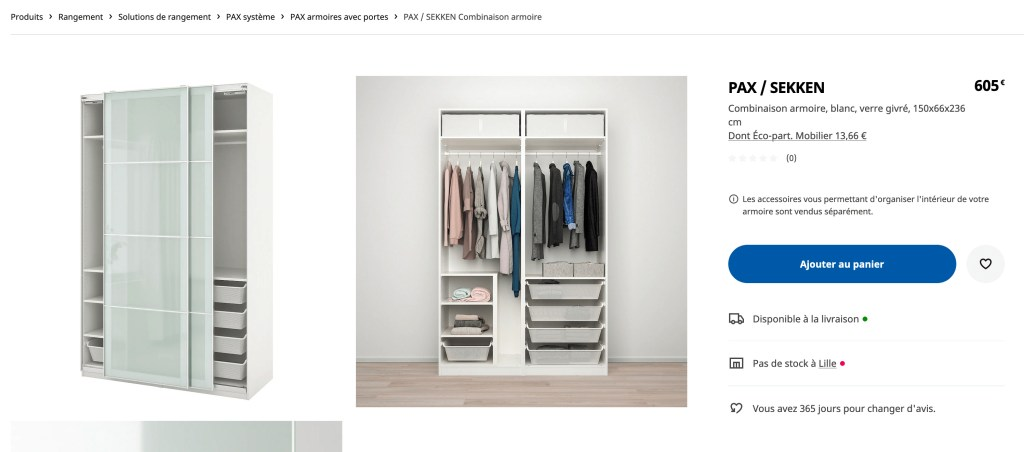 Add to cart button on Ikea.fr