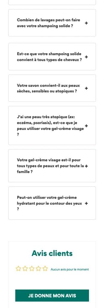 Page produit responsive de la marque Respire, partie 3