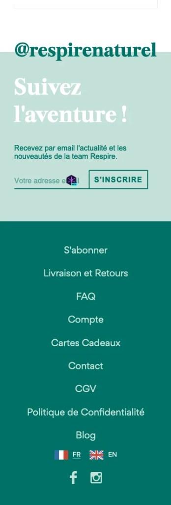 Page produit responsive de la marque Respire, partie 4