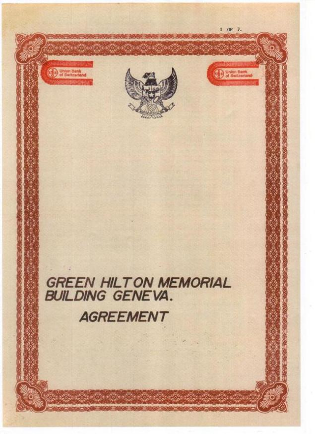 "Harta Karun Emas Indonesia ""The Green Hilton Memorial Agreement ..."