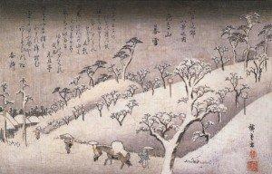 hiroshige-payasge-maison-et-homme-sous-la-neige