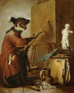The Monkey as Painter / Chardin / 1740