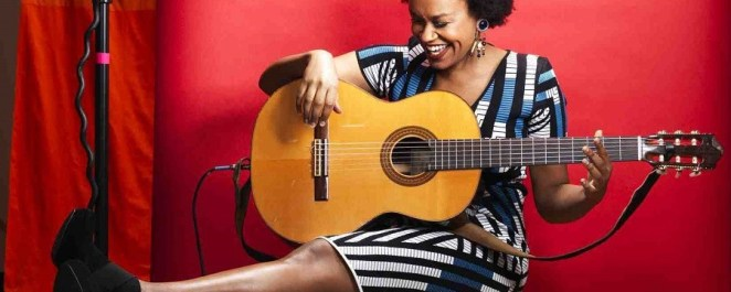 Ethiopian-born singer Meklit Hadero shows off her guitar chops and her perfect afro.
