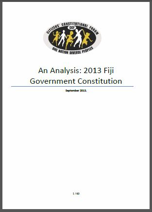 Fiji: An Analysis: 2013 Government Constitution