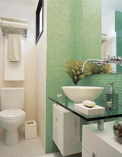 lavabo decorado com pastilha verde