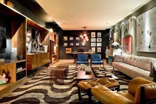 sala moderna contemporanea com tapete geometrico
