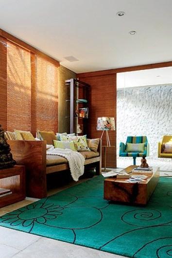 tapete estampado colorido verde sala rustica