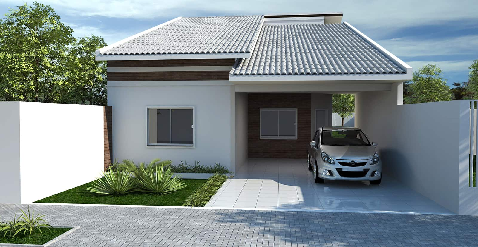 17 ideias de fachada para casas pequenas veja fotos for Fachada de casas