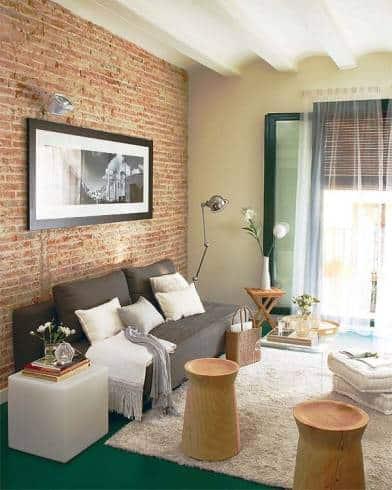 03 sala simples com tijolo a vista