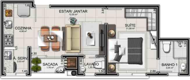 07 planta humanizada de apartamento pequeno