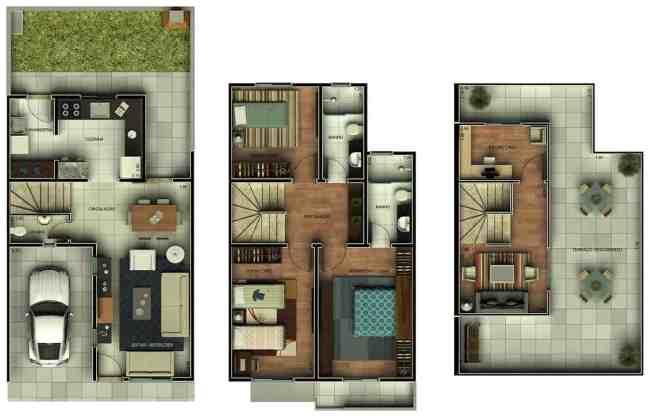08 plantas humanizadas de casa de 3 andares
