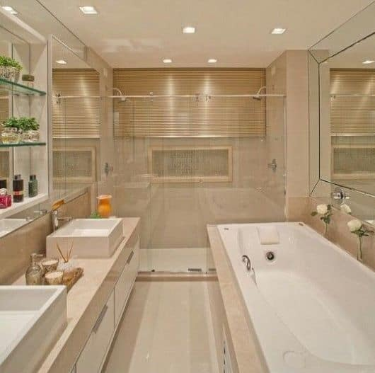 BANHEIROS COM BANHEIRAS 25 Ideias, Fotos, Projetos # Banheiro Com Banheira Metragem