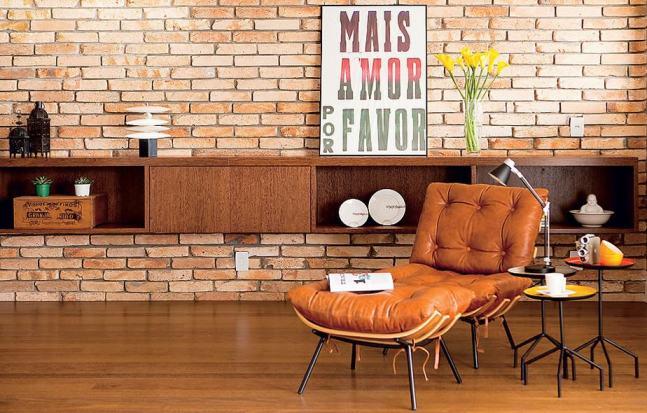 14 sala com tijolo aparente moderna