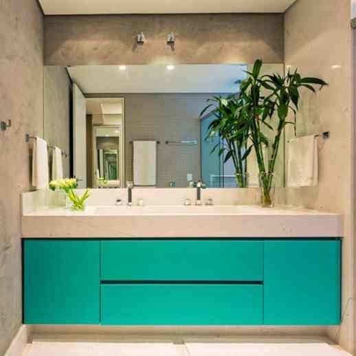 banheiro com movel verde moderno
