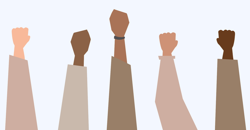 5 People raising their fists