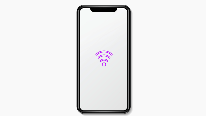 A cellphone with a wifi signal icon on it