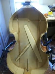 upright bass restoration. Carved fallback bass