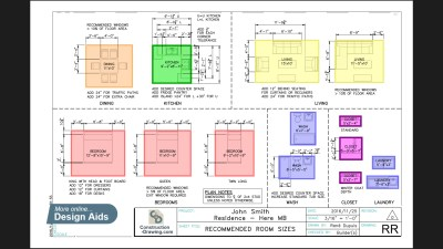 Recommended room sizes, see more in the design aids page.