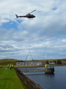 FRP Bridge installed by Helicopter at Earlsburn Reservoir, Scotland