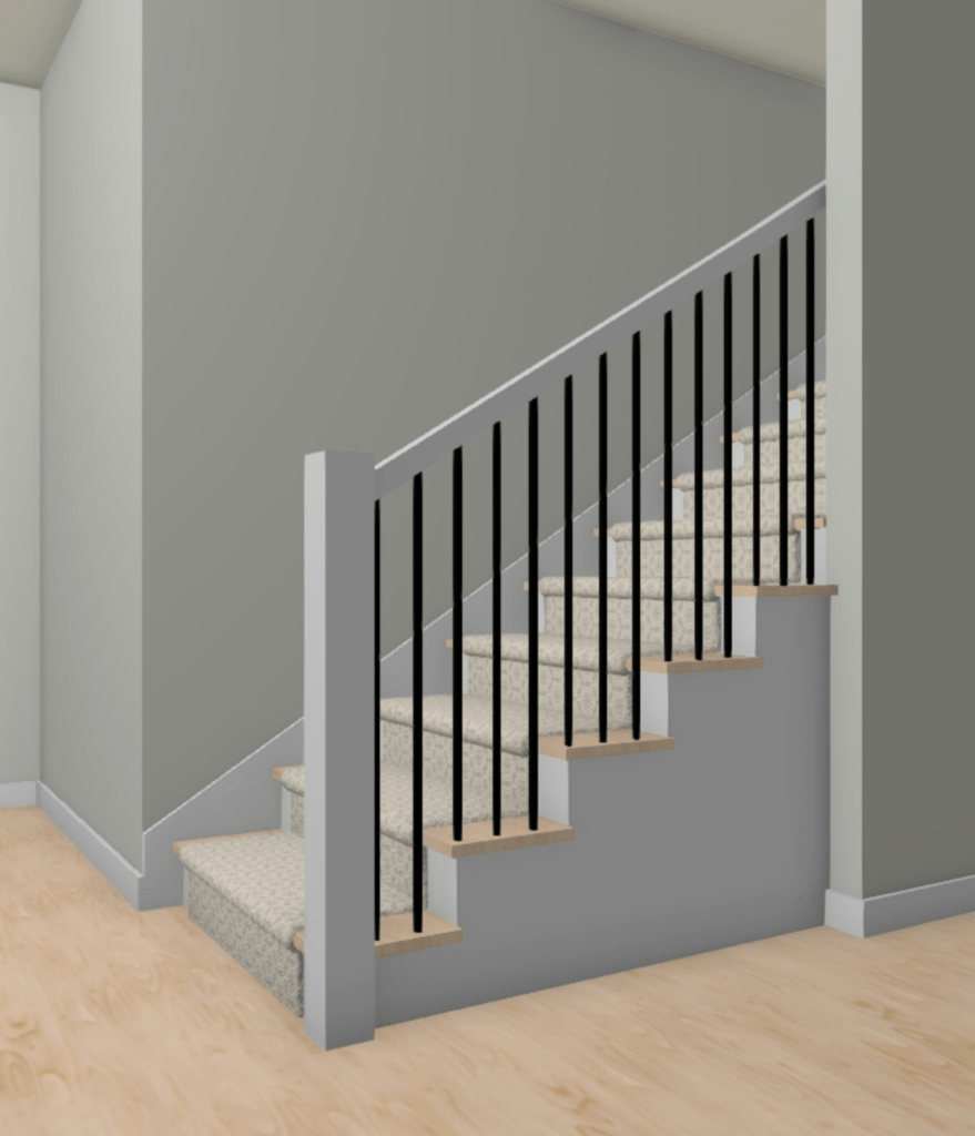 Tips Tricks To Diy Your Staircase Railing Construction2Style   Oak Handrail White Spindles   Stair Square Spindle   Staircase   Switchback Stair   Goes Golden Oak Staircase   Replacement