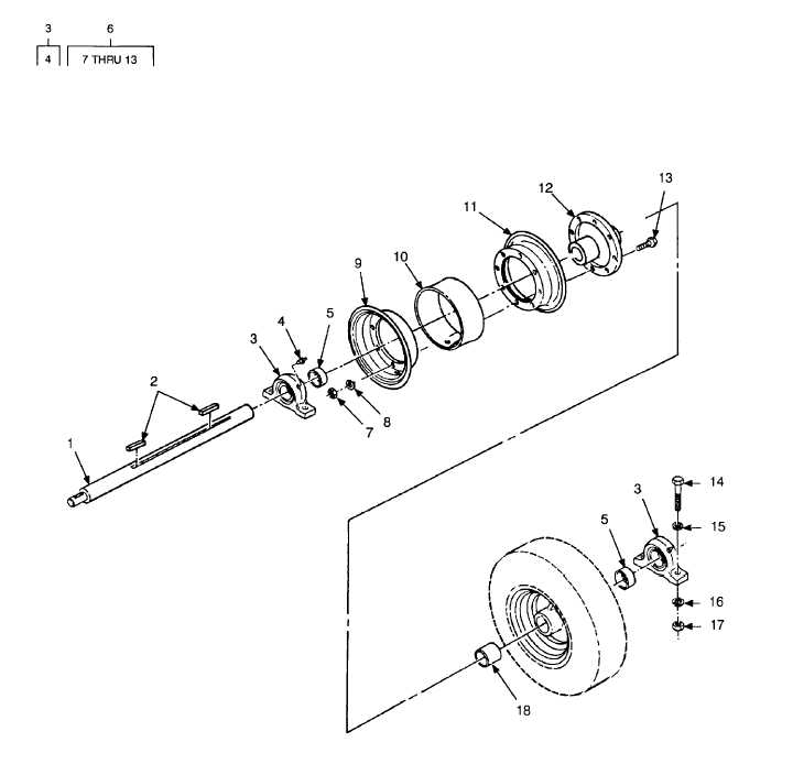 FIGURE 20. TRACTION WHEEL ASSEMBLY AND RELATED PARTS