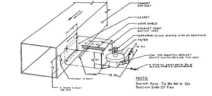 Fig 3-Drawing showing the installation of the exhaust fan