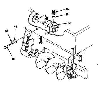 1. INSTALL AUGER/CONVEYOR MOTOR ONTO PAVING MACHINE MAIN FRAME