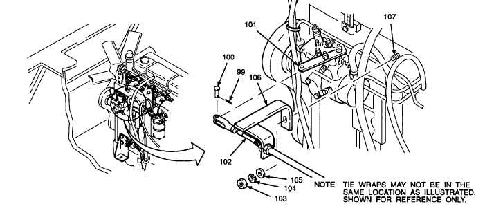 15. INSTALL THROTTLE CONTROL CABLE ONTO FUEL INJECTION PUMP