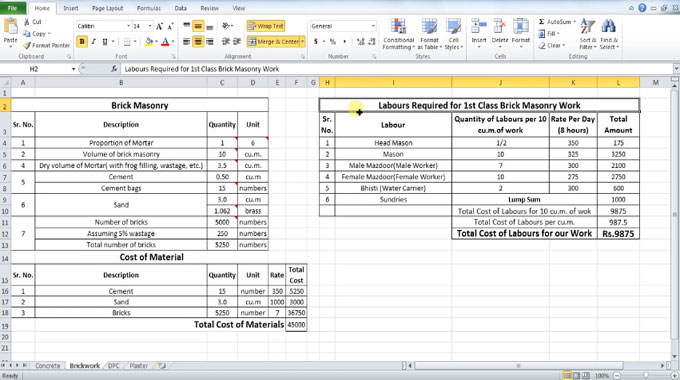How to use excel to calculate required labor for Brick Masonry Work