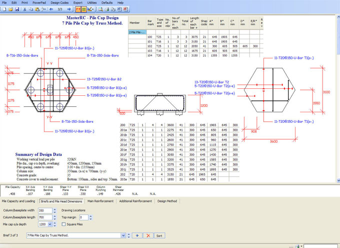 MasterRC Pile Cap Designer – An exclusive software for designing & detailing of normal shaped pile caps
