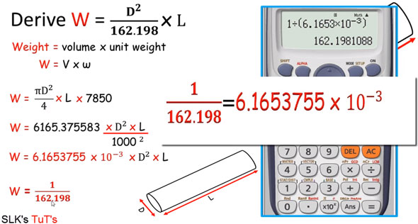 How to estimate the weight of a round shaped steel bar
