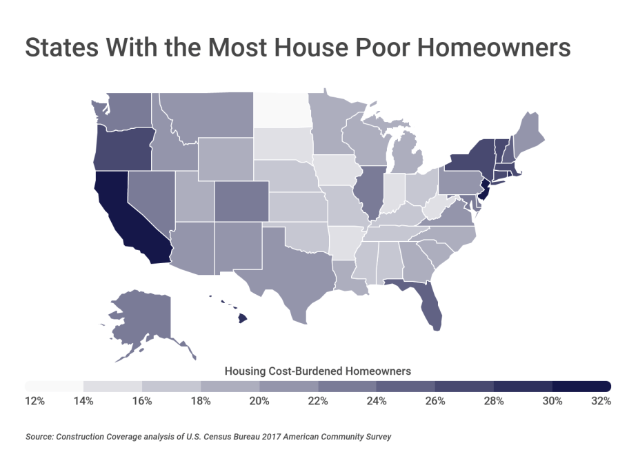 States With the Most House Poor Homeowners
