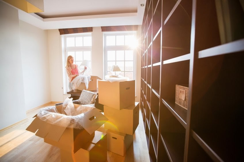 Woman packing to move