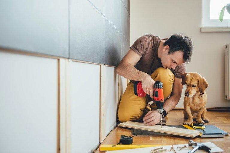 Man working home improvement