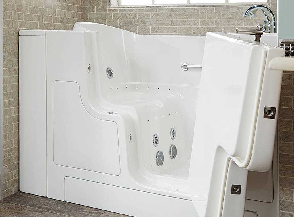 Walk in tub with an L-shaped outward door