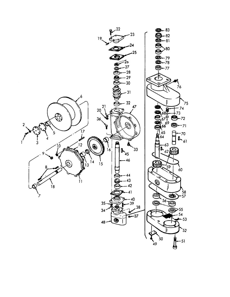 Figure 3-4. Winch assembly, exploded view.