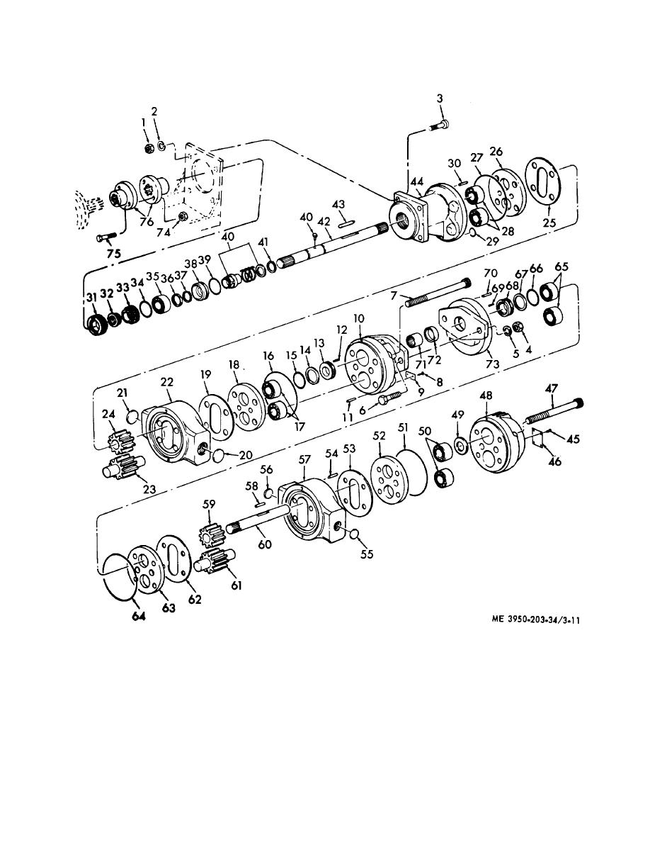 Figure 3-11. Hydraulic pump, exploded view.