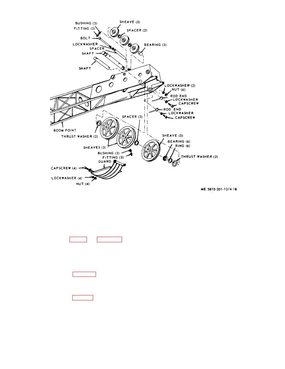 Figure 4-18. Boot point and idler sheaves, removal and