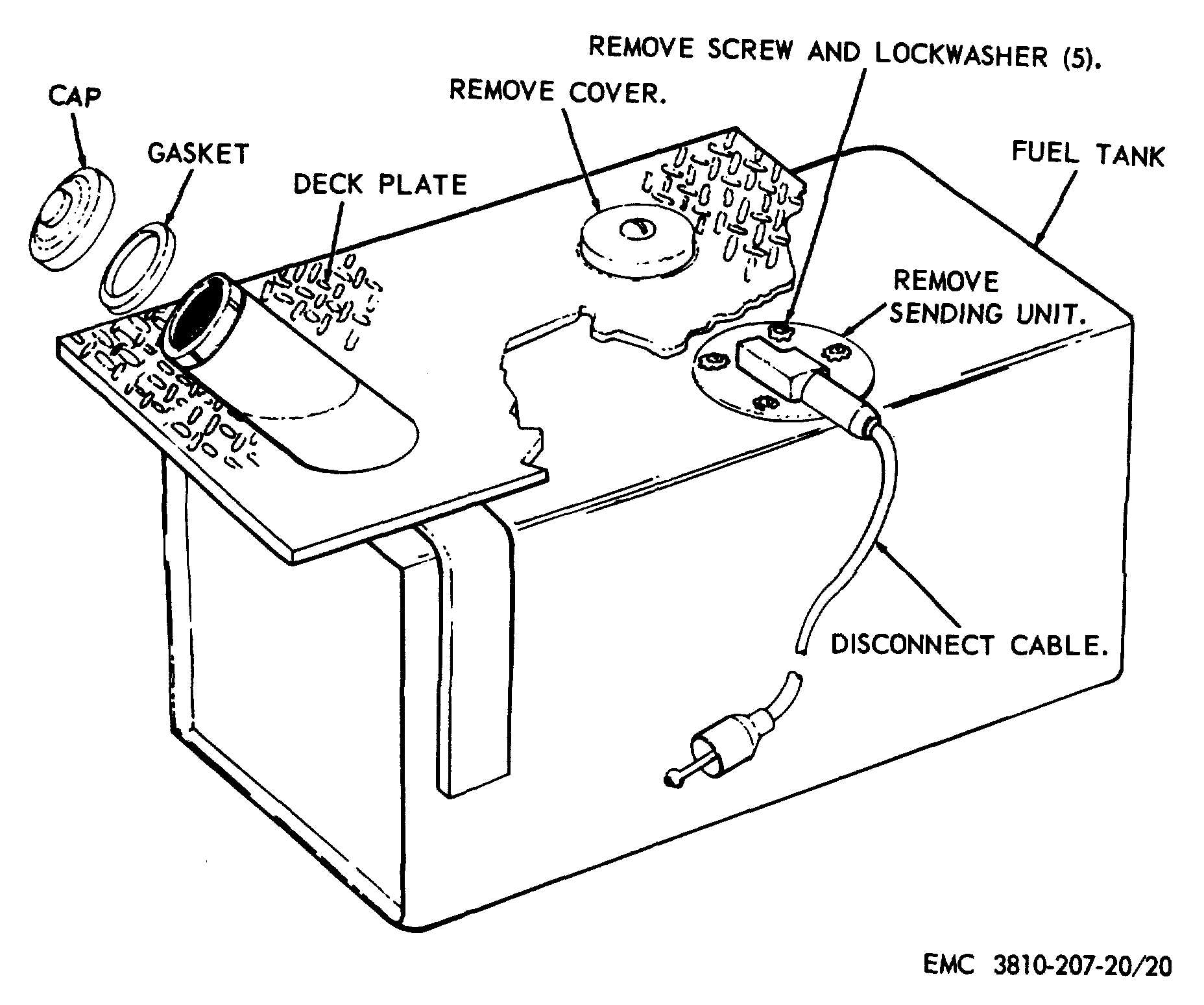 Figure 20. Fuel tank sending unit, removal and installation.