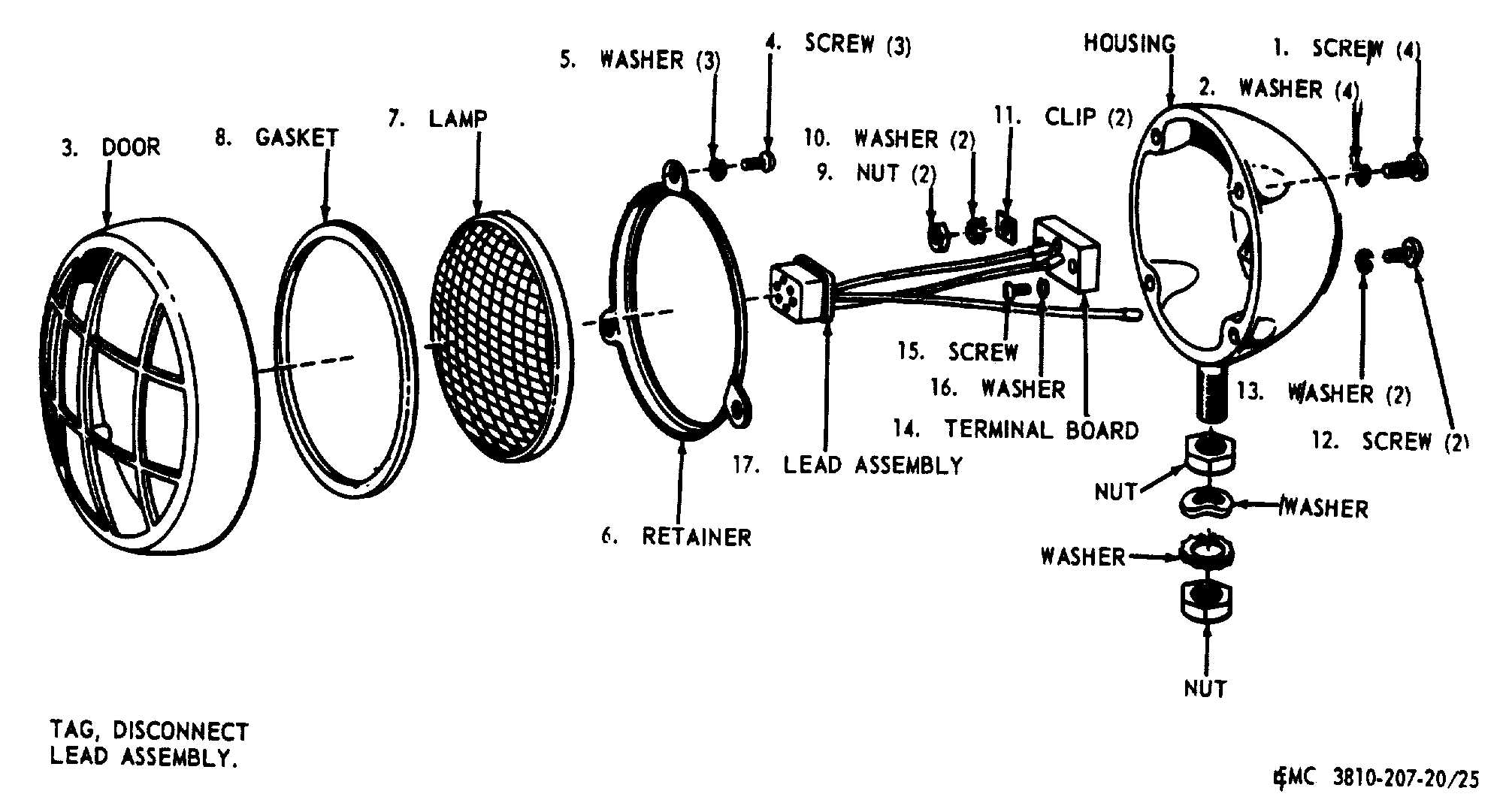 Figure 25. Floodlight, exploded view.
