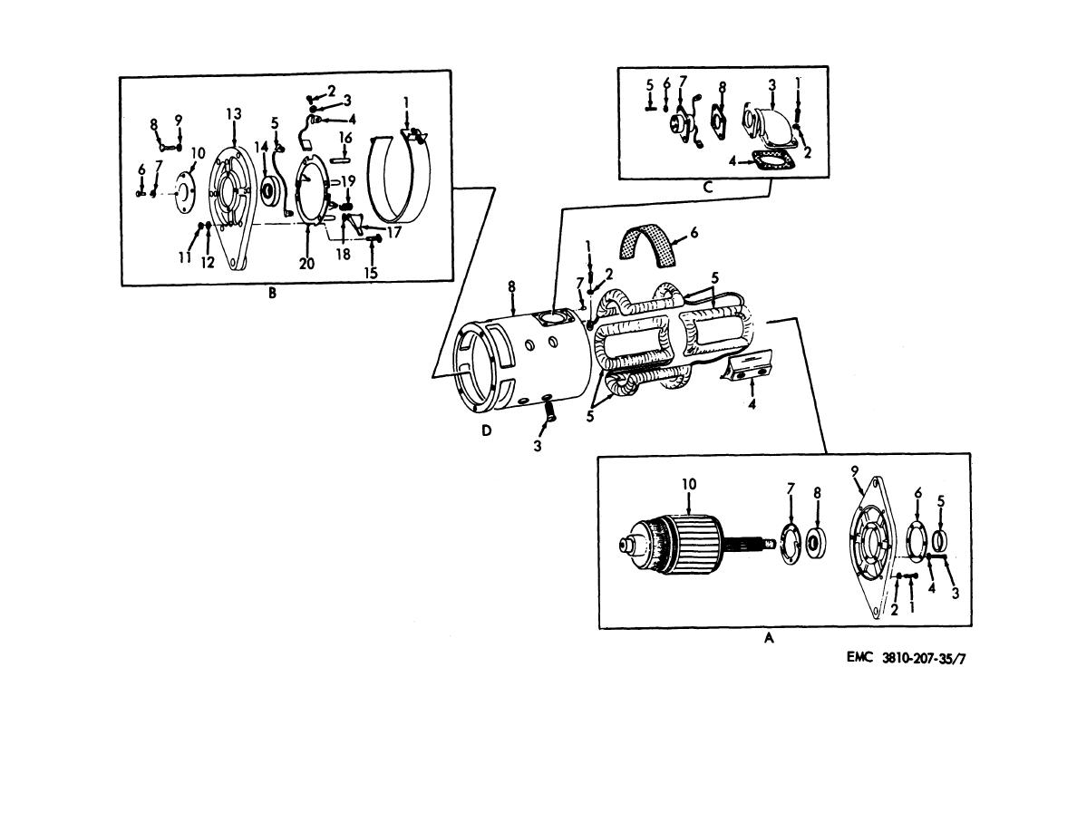 Figure 7 Crane Engine Generator Assembly Exploded View