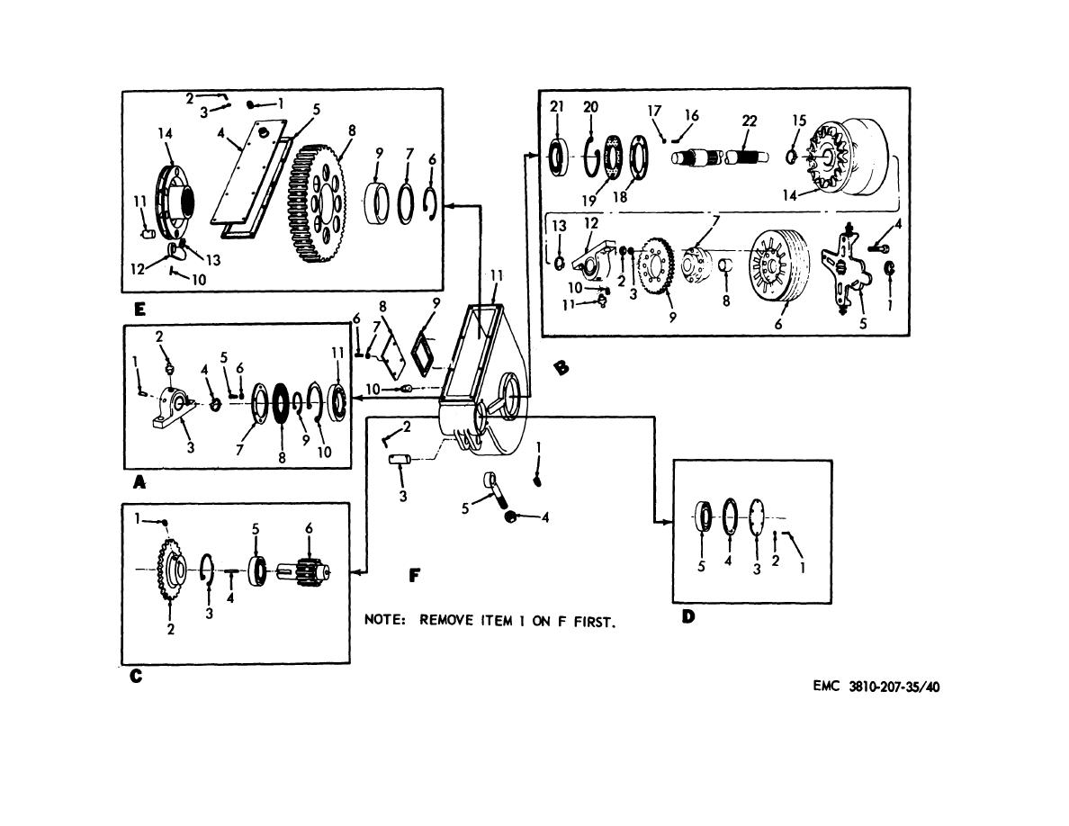 Figure 40. Boom hoist shaft and gearcase assembly