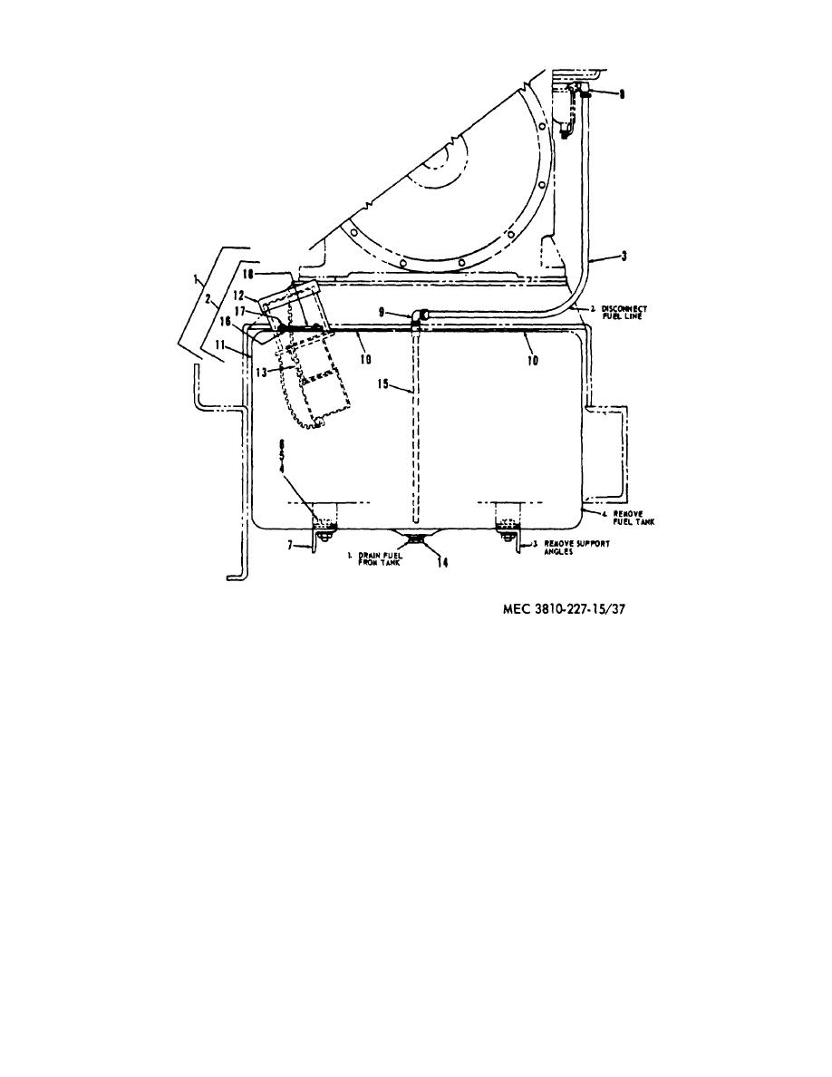 Figure 37. Crane engine fuel tank, lines and fittings